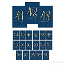 Andaz Press Table Numbers 41 - 60, Gold Glitter Print, 4x6-inch Single-Sided Cardstock Sign, Navy Blue, 1-Set