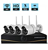 Asunflower Security Camera 4CH 720P HD Wireless Network IP Security Camera System Video Surveillance NVR Kits Four 1.3MP Weatherproof Bullet IP cameras 65ft Night Vision,No HDD