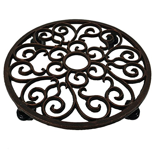 Comfy Hour Cast Iron Heavy Duty Super Strong Industrial Strength Wheel Plant Stand Trolley, Black