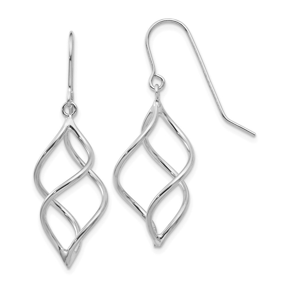 earrings : 14k White Gold Polished Short Twisted Dangle Earrings by JE (Image #1)