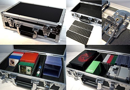 U1 Black Metal Storage Case for Trading Cards TCG Ultra Pro Deck Protector Sleeve Deck Box MTG Magic the Gathering YGO Yugioh Match Attax Board Games Sports Wow Pokemon Toploader Vanguard Carry Cube by KakapopoTCG