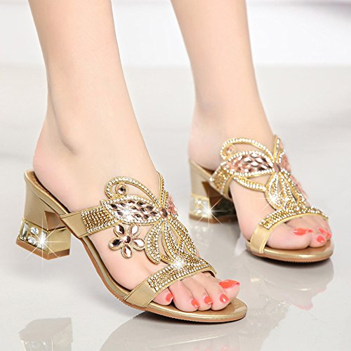 Comfortable Slippers Drill The Girl KPHY Sandals And Outdoor Shoes Cold And Wear Thick Gold Tide New Crystal The Water And Women'S ZqAwv