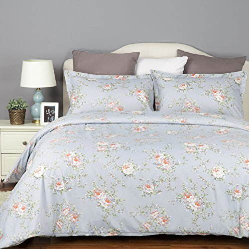 Bedsure Flower Bedding Set Printed Duvet Cover Set with Zipp