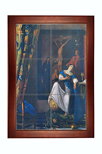 Vermeer Allegory Of Faith Framed Tile Mural 15''x21'' by Style in Print
