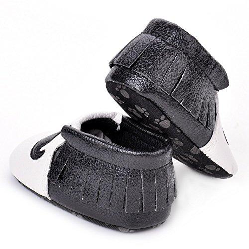 estamico de zapatos de Baby Girl suave suela de piel con flecos negro negro Talla:12-18 meses
