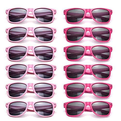 12 Pack Neon Sunglasses Kids Birthday Party Favors Glasses Retro Unisex Eyewear (Kids Pink+Hotpink)