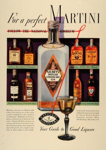 1936 Ad Gilbeys Distilled London Dry Gin Martini Rum - Original Print Ad