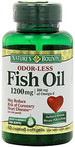 Nature's Bounty Odorless Fish Oil, 1200mg, Softgels, 60 ea (Pack of 12) by NAT/BOUNTY