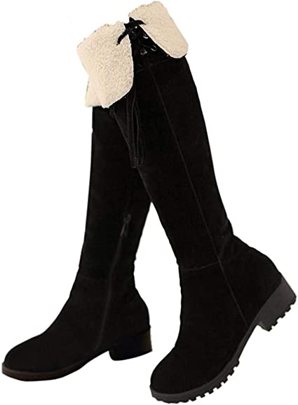 Women/'s Knee High Leather Boots Black Fur Lined Warm Smart Grip Winter Shoe Size