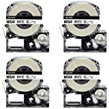 LK-4WBN Label Tape, LaBold 4 Pack Compatible Epson LabelWorks Label Maker Tape Cassette LC-4WBN (SS12KW) Black on White 1/2'' X 26.2'(12mm x 8M) READ COMMENTS IF YOU WORRY ABOUT LOW-SCALE REVIEWS!