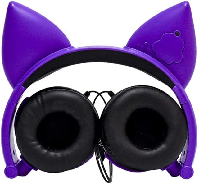 Ildlor Foldable Flashing Glowing Fox Gaming Headset Stereo Surround Noise Cancelling Over Ear Gaming Headphones with Mic
