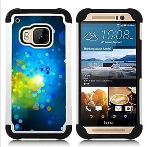 - green bright dots spots abstract/ H??brido 3in1 Deluxe Impreso duro Soft Alto Impacto caja de la armadura Defender - SHIMIN CAO - For HTC ONE M9