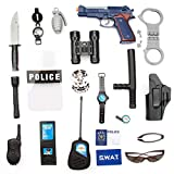 Police Toy All-in-one Role Play Set with 20 Piece,Cop Dress-up Boy Kid Gift
