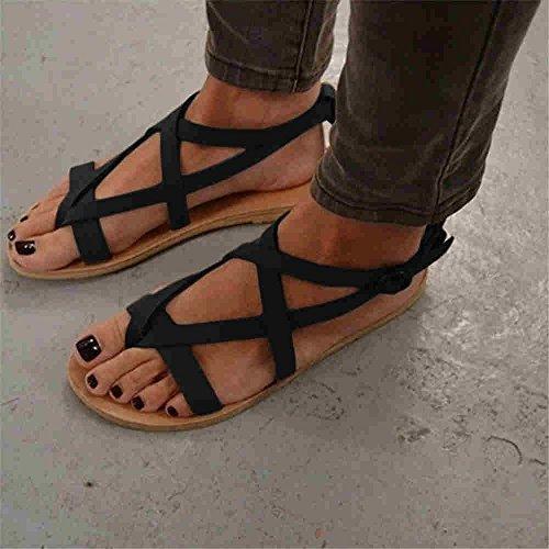 XXM Playa Zapatos Color Plana de Negro; Sandalias Romana de en Sandalias Playa Base Europa y Elegante América Mujer para de y Mujer a con Diseño de y Casual Sandalias 35 Campo para z5wYqExCY
