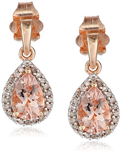 10k Rose Gold Diamond and Morganite Halo Dangle Earrings (1/10 cttw, I-J Color, I2-I3 Clarity)