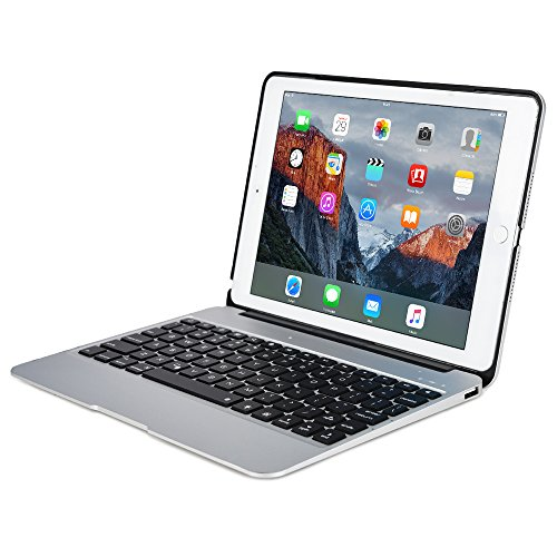Apple iPad Air 2, iPad Pro 9.7 keyboard case, [NEW] COOPER KAI SKEL A1 Backlit Aluminum Bluetooth Wireless Keyboard Laptop Macbook Clamshell Case Cover Battery Power Bank NOT FOR IPAD 9.7 2017 Silver (625 Silver Metal)