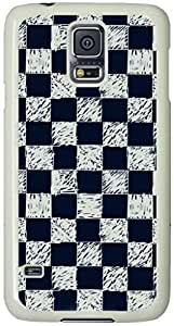 Black and White Hand-Painted Box Pattern Samsung Galaxy S5 Case with White Skin