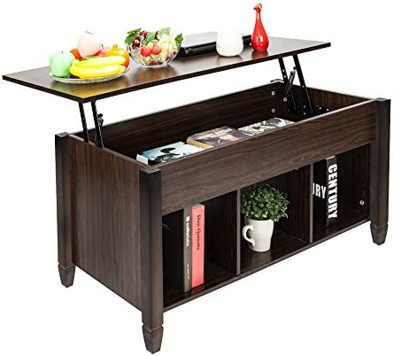 Fovor Lift Top Coffee Table w Hidden Compartment and Storage Shelves Pop-Up Storage Cocktail Table Dining Table for Home,Living Room Office Reception, Espresso