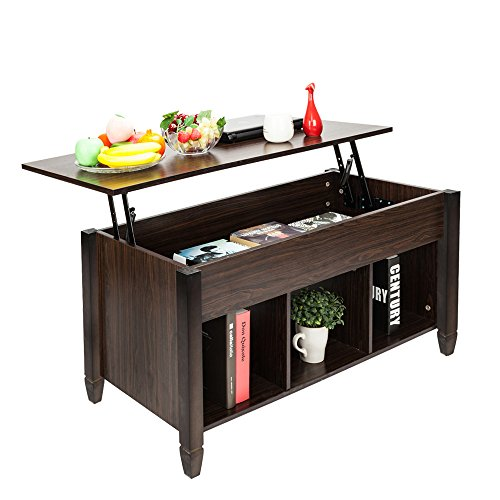 Bonnlo Lift Top Coffee Table with Storage Shelf w/Hidden Compartment and 3 Lower Open Shelves for Living Room (Brown)