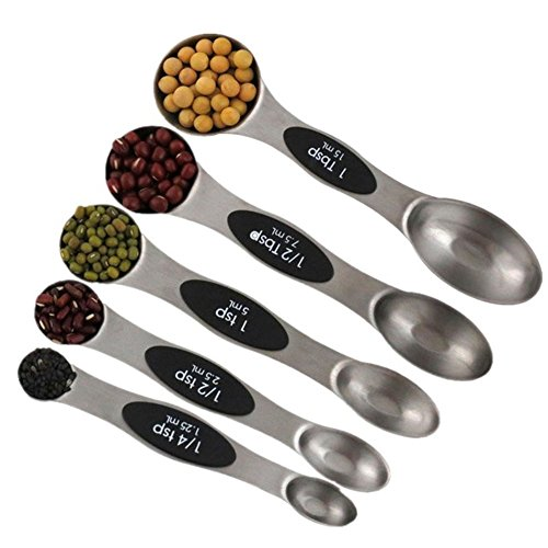 TSG GLOBAL Goldbaking Magnetic Measuring Spoons Stainless Steel set of 5 for Measuring dry and Liquid Ingredient for Home and Kitchen Scale