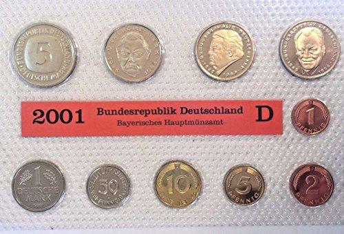 - DE 2001 2001 D Germany Deutsche Mark 10 Coins Official Se Good