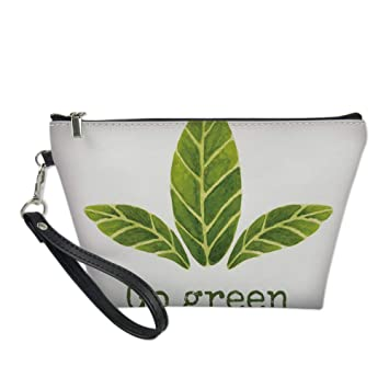 Sage Useful Cosmetic Bag,Ecological Concept Hand Painted Style Watercolor Leaves with Go Green Inspirational Decorative for Travel,for Women Makeup Bags Pouch Purse Handbag Organizer