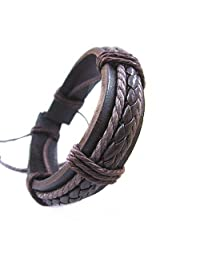 Jirong Fashion Adjustable Leather and Rope Cuff Bracelet Gift for Men Unisex Bracelet Sl0098-3