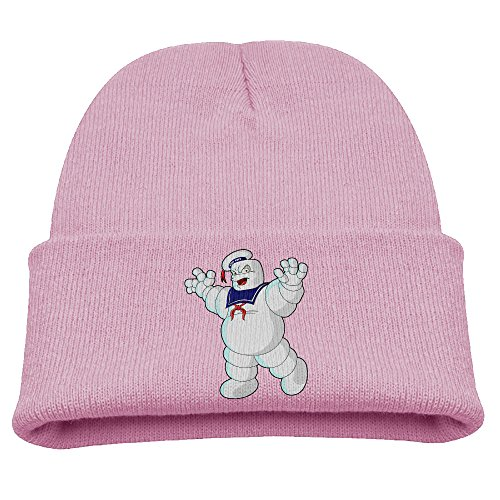 Babala Stay Puft Marshmallow Man Child Knitted Beanie Cap Hat Skull Slouchy Cap Hat Pink