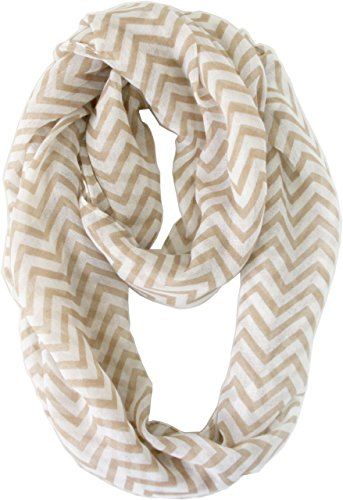 Vivian & Vincent Soft Light Weight Zig Zag Chevron Sheer Infinity Scarf (Earth/White) (Crochet Pattern For Infinity Scarf With Buttons)