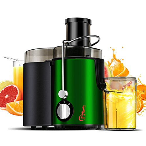 SLC Juice Extractor, Wide Mouth Centrifugal Juicer Machine, 400W Stainless Steel Dual Speed Setting Fruit and Vegetable Juicer with Juice Jug and Cleaning Brush (Green)