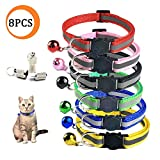 Wendy Direct 8 Pcs [6 Pcs Cat Collars with Bell + 2 Pcs Pet ID Tag Boxes] Breakaway Cat Collar with Bell - Reflective Nylon Cat Collar - Pet ID Tag Box