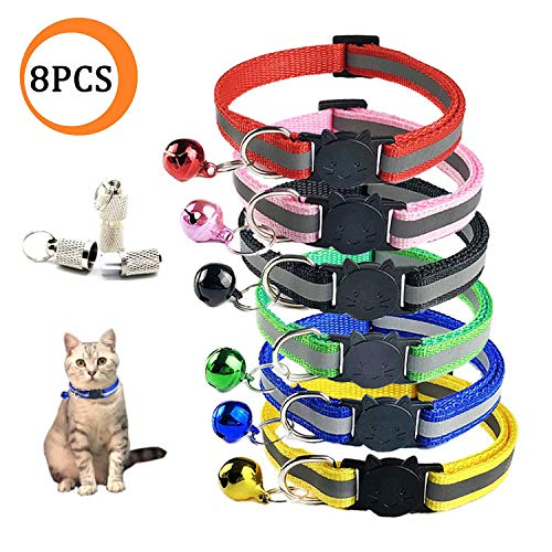 Wendy Direct 8 Pcs [6 Pcs Cat Collars with Bell + 2 Pcs Pet ID Tag Boxes] Breakaway Cat Collar with Bell, Reflective Nylon Cat Collar, Pet ID Tag Box