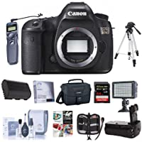 Canon 5DS DSLR Camera Body - Bundled w/Camera Bag, 64GB Class 10 SDXC Card, Clean Kit, Battery Grip, Screen Protector, Remote Shutter Trigger, Spare Battery, Software Package, Tripod & More