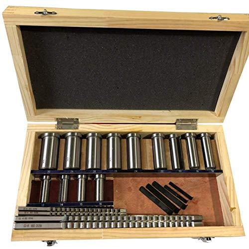 Keyway Broaches Set 22pcs HSS Metric Keyway Cutting Tool for Lathe Sizes B1-4, B1-5, C1-6, C1-8 Broaches with 12B, 14B, 15B, 16B, 18C, 19C, 20C, 22C, 24C, 25C, 26C, 28C, 30C Bushings and 5pcs Shims