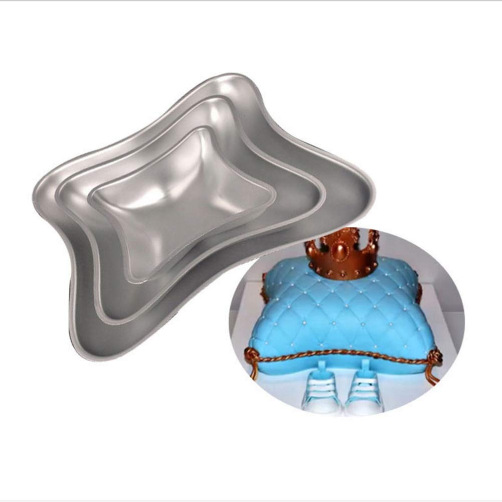 Ocamo 3-teiliges Set Kuchen Pfanne Kuchen Backform DIY Kissen Form Aluminium Kuchen Formen Set