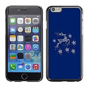Cubierta de la caja de protección la piel dura para el Apple iPhone 6 (4.7) - blue deer winter stars minimalist
