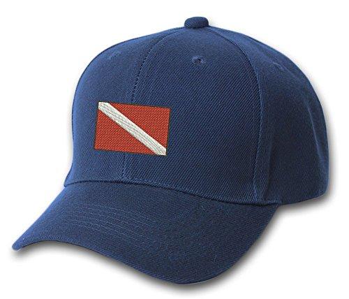 Diver Hat (Dive Flag Divers Boating Embroidered Hat 4 Colors - Navy - OSFA Adjustable)