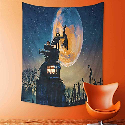 (jjdncjdhf11 Decorate Tapestry Wall Hanging,Decor Dead Queen in Castle and Zombies in Cemetery Love Affair Bridal Halloween Bedroom Living Room Dorm Tapestries 100x150)