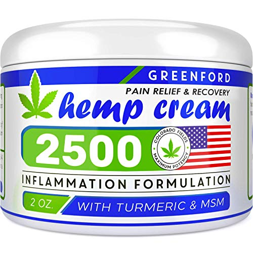 Pain Relief Hemp Cream 2500 Mg - Hemp Extract Cream for Inflammation & Sore Muscles - Natural Joint, Arthritis & Back Pain Support - Made in USA - Arnica, MSM, Turmeric - Best for Skin Health (Best Massage Oil For Back Pain)