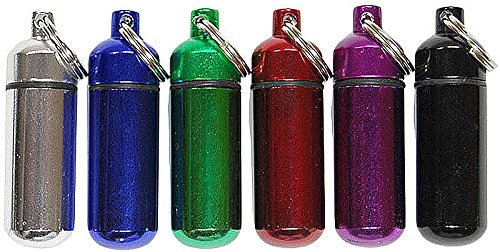 SE - Pill/ID Holder With Keychain - Small, Assorted Colors, 6 Pk