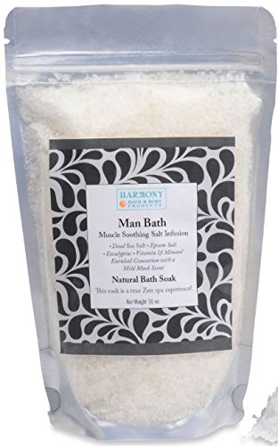 Best Man Bath Infusion - Best Bath Salt - The Most Amazing Bath Soak! Soothes Your Muscles, Balances and Relaxes the Body and Spirit… Can Also Be Used As a Foot Soak or a Body Scrub - 16 Oz