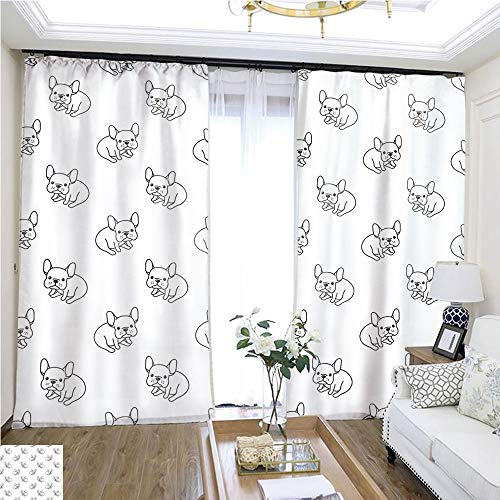 Curtain Gauze Dog icon French Bulldog Vector Seamless Pattern White Background Wallpaper W96 x L276 Children's Room Loop top Curtain Highprecision Curtains for bedrooms Living Rooms Kitchens etc