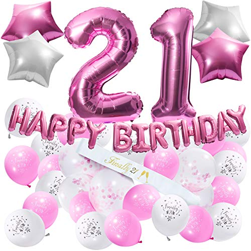 21st Birthday Decorations - 21st Birthday Party Supplies, 21st Birthday Sash, Happy Birthday Banner, Pink Conffeti Balloons, Finally 21, Gifts for her.