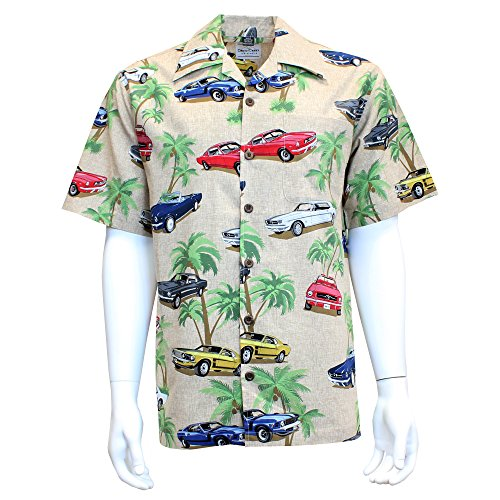 Stain Shirt Resistant Camp - David Carey Ford Mustang Hawaiian Camp Shirt - Retro Inspired Button Up Collared Short Sleeve Beige Club Shirt, L