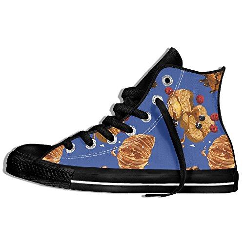 Classiche Sneakers Alte Scarpe Di Tela Antiscivolo Dolce Colazione Modello Casual Da Passeggio Per Uomo Donna Nero