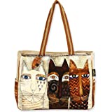 Laurel Burch Ancestral Cats Extra Large Tote, 22″ X 5.5″ X 15.5″, with Wood Charm, Bags Central