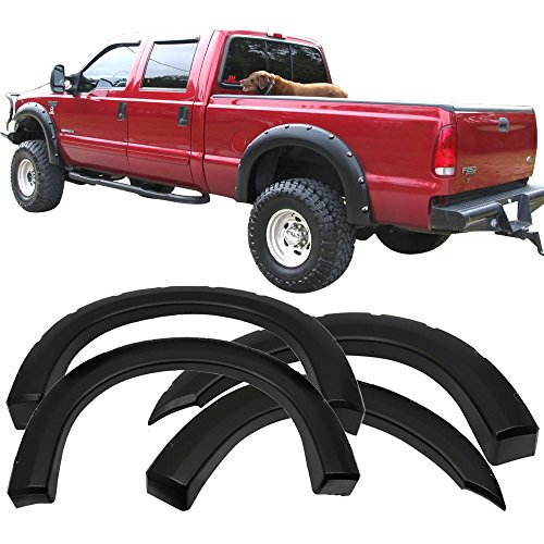 Fender Flare Fits 1999-2007 Ford F250 F350 Superduty | Pocket Rivet Style Sanded Black ABS Wheel Protector Protection Guards Cover by IKONMOTORSPORTS | 2000 2001 2002 2003 2004 2005 2006