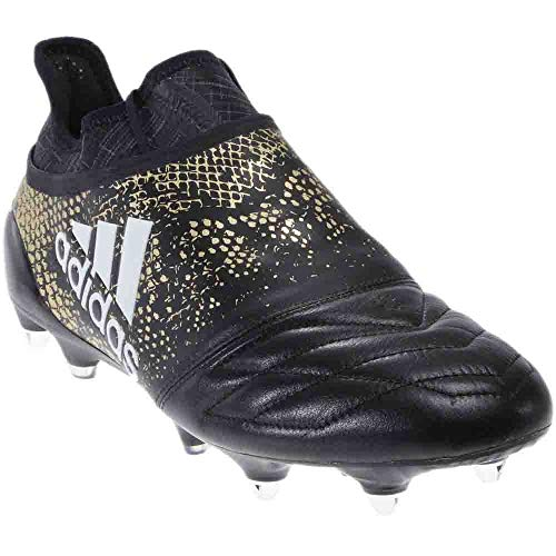 (adidas Mens X 16+ Purechaos Soft Ground Leather Football Athletic Shoes Black;Gold 6.5)
