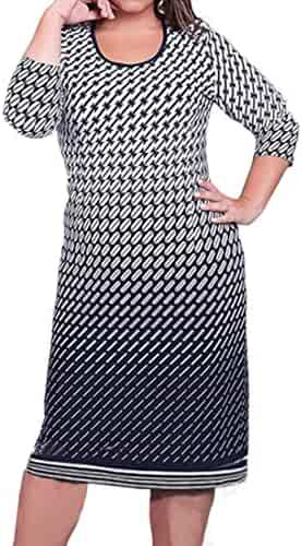 a52410f342fd WANSHIYISHE Womens Plus Size Crew Neck Print 3 4 Sleeve Casual Midi Dress
