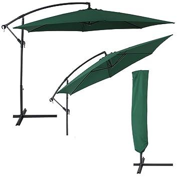 tectake m sombrilla parasol de aluminio para terraza jardn proteccin solar uv verde